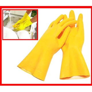 2 Pair Rubber Hand Glovs with Gripper For Cleaning
