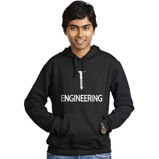 Campus Sutra Men's Black Hooded Sweatshirt (Design 14)