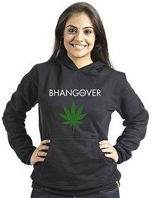 Campus Sutra Women's Black Hooded Sweatshirt (Design 3)
