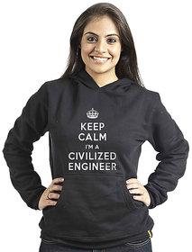 Campus Sutra Women's Black Hooded Sweatshirt (Design 6)