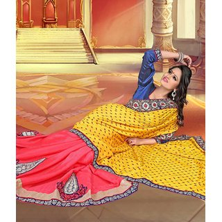 Yellow & Pink Color Jacquard + Chiffon Saree