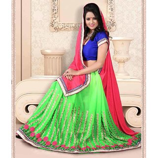 Green & Pink Color Jacquard + Chiffon Saree
