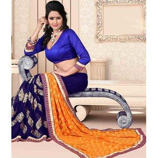 Blue & Orange Color Jacquard + Georgette Saree