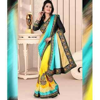 Sky Blue & Yellow Color Jacquard + Georgette Saree