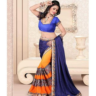 Blue & Orange Color Jacquard + Georgette Saree