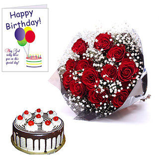 Happy Birthday Card Red Roses And Cake In India Shopclues Online