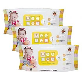 Mee Mee Baby Wet Wipes (Pack of 3) White