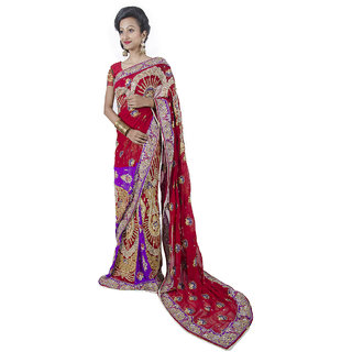 MAROON-PURPLE  DESIGNER HAND EMBROIDERED LAHENGA-SAREE