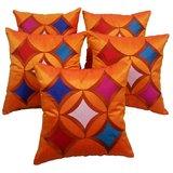Geometric Cushion Cover Orange With Multi Color Patch(5 Pcs Set)