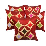 Geometric Cushion Cover Red With Multi Color Patch(5 Pcs Set)