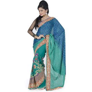 Blue Rama Green  Designer Hand Embroidered Saree