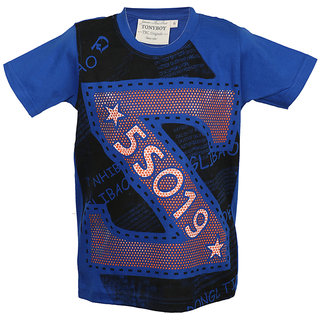 Tonyboy Boy's Cotton Yarn Dyed Blue Short Sleeved T-shirt