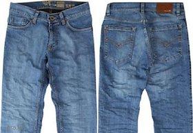 Zovi Men's Cotton Slim Stretch Fit Blue Denim Jeans.