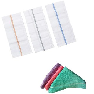 ZAC Set of 3 Pc 100  Cotton Handkerchiefs  3 Pc Ladies Towel hadkerchiefs