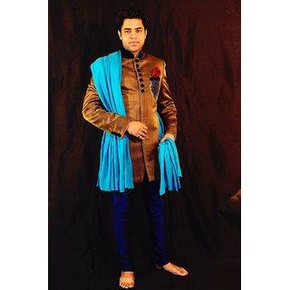 Golden  Blue Embroidered Medium Sherwanis For Men