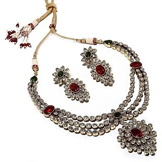 Be You Red & Green Colour Victorian Style Heavy Necklace with Earrings