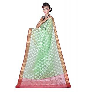 Statuesque Banarasi Sea Green Art Silk Sarees Exclusive For Women
