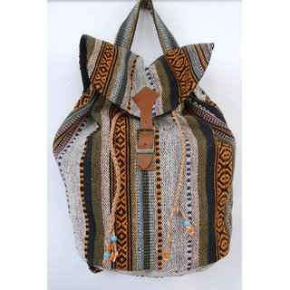 The House of Tara Multicolor Handwoven Backpack Bag - HTBP 06