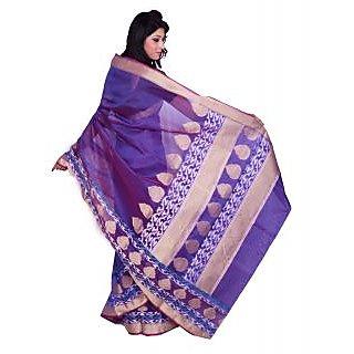 Amiable Banarasi Blue Cotton Silk Sarees Exclusive For Women