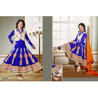 Thankar Blue , Off White And Orange Embroidered Net Anarkali Suit