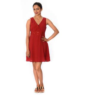 Oviya Women's Red  Casual Sleeveless Dress