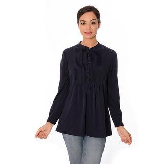 Oviya Women's Dark Blue Solid Tops