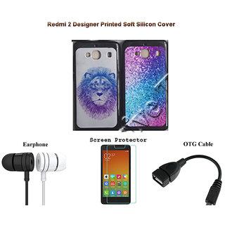 best website 00088 d4166 Redmi 2 Designer Back Cover Screen Protector OTG Cable Earphone