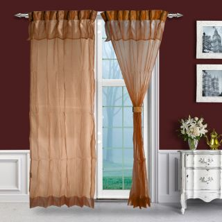 Just Linen Pair of Saddle Brown Two Tone Pleated Sheer Curtains with Skirt (HW013640)