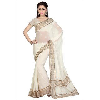 Off White Faux Georgette saree with unstitched blouse (1667)