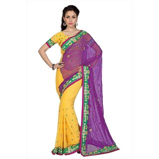 Violet & Yellow Chiffon saree with unstitched blouse (1706)