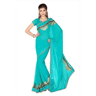Turquoise Faux Georgette saree with unstitched blouse (1759)