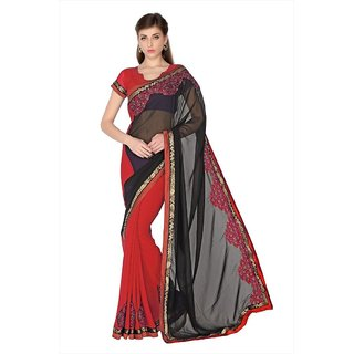 Black & Red Faux Georgette saree with unstitched blouse (1762)