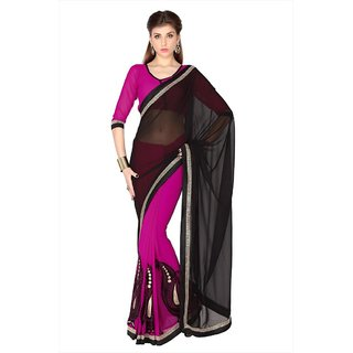 Black & Magenta Faux Georgette saree with unstitched blouse (1779)