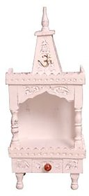 Shilpi Wooden Small Home Temple/Mandir White Antique