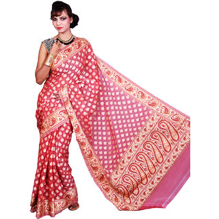 Magnificent Banarasi Pink Cotton Silk Sarees Exclusive For Women