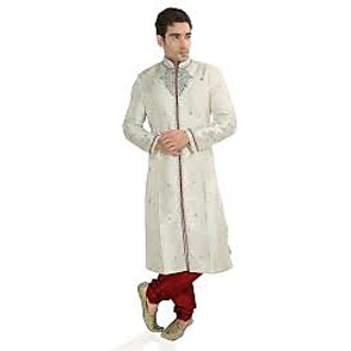 White Banarasi Jacquard Art Silk And Dupion Sherwani