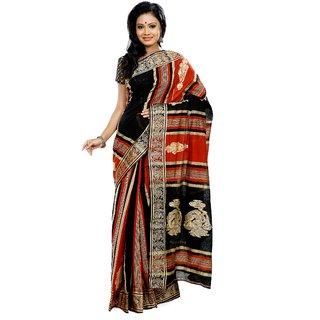 B3Fashion Handloom Traditional Matka Silk Saree In Black & Orange Stripes