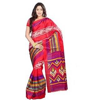 Ambaji Red & Blue Colored Bhagalpuri Silk Printed Saree
