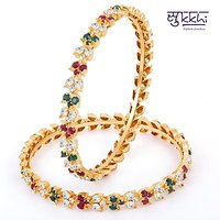 Sukkhi Exquitely Crafted Gold & Rhodium Plated Ad Bangle