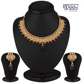 Sukkhi Royal Gold Plated Multicoloured Goddess Laxmi Necklace Set