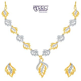 Sukkhi Moddish Gold And Rhodium Plated Cz Necklace Set