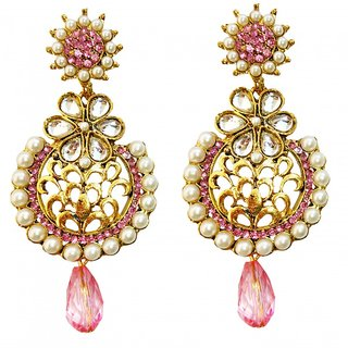 Dhwani Creation Pink Antique Push Back Earrings