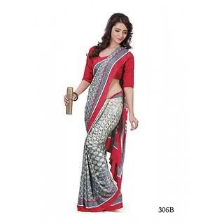 sangam saree womens designer red silk print official wear saree