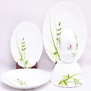 Larah 7 Pcs Dinner Set Fluted Green Hurbs