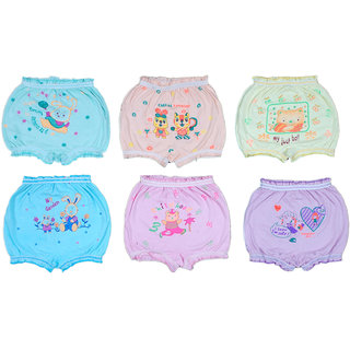 Pack of 6 Kids Cotton Fancy Bloomers - Multicolor