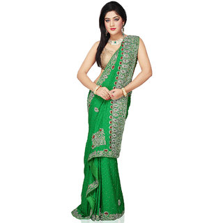 Bay & Blue Collection Of Green Jacquard Saree With Ziricon & Cutdana Work..