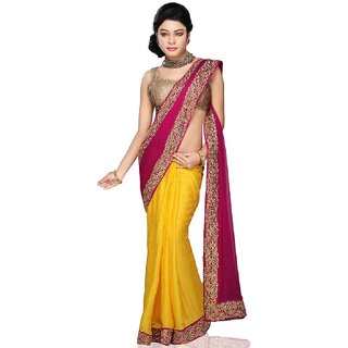 Bay & Blue Collection Of Yellow Chiffon Saree With Zaree Work..