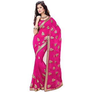 Bay & Blue Collection Of Pink Chiffon Saree With Resham Embroidery & Lace Border