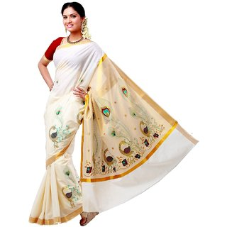 embroidered kerala saree with blouse piece