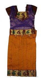 Muahhh Ethnic Wear Purple Blouse With Mustard Lehenga For Baby Girl